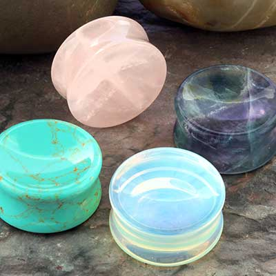 Stone and Glass Concave Plugs