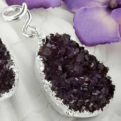 Silver and electroplated amethyst druzy weights