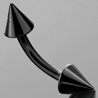 Black-Coat Curved Barbell with Cones