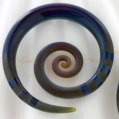 Pyrex glass mini spirals (Textured nebula)