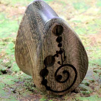 Blue mahoe wood Crop circle teardrop plugs
