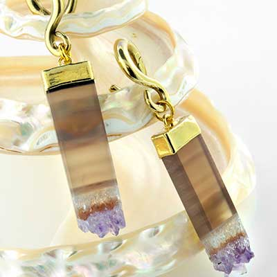 Gold dipped flat rectangle amethyst weights