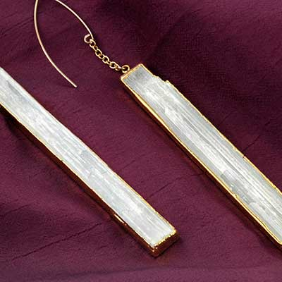 Selenite Prism Earrings