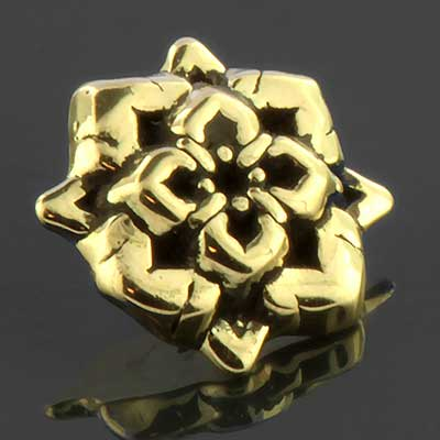 14k Gold Geometric Lotus Threaded End