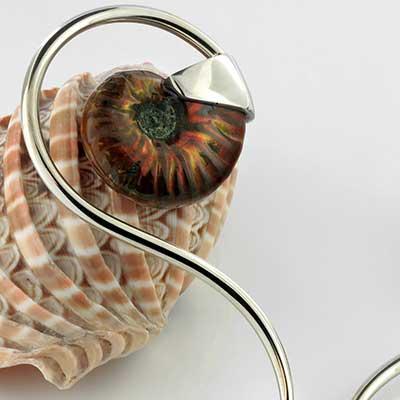 Brass and ammonite swan weights