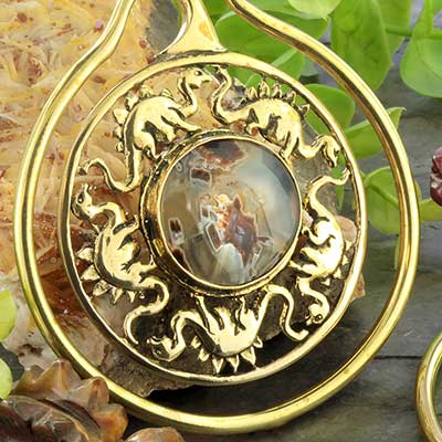 Brass Jurassic hoops with stick agate