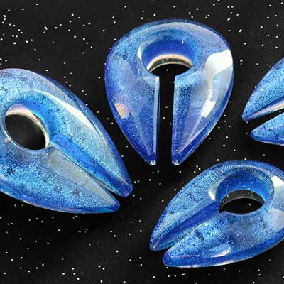 Fused Dichroic Keyhole Weights (Indigo Silver)