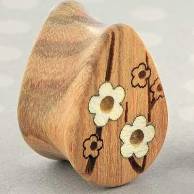 Olivewood Cherry blossom teardrop plugs
