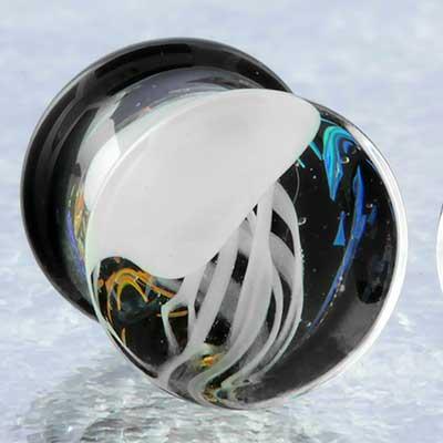 Pyrex glass jellyfish plugs (White on rainbow galaxy)
