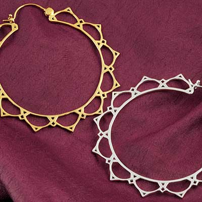 Lace Lotus Hoop Earrings