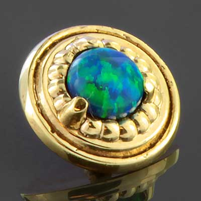 14K gold opal disc threaded end
