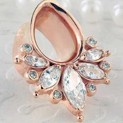 Rose gold plated Marquise eyelets