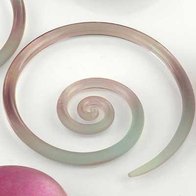 Pyrex glass mini spirals (Ice seaglass)