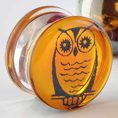 Pyrex Glass Owl Plugs (Gray On Amber)