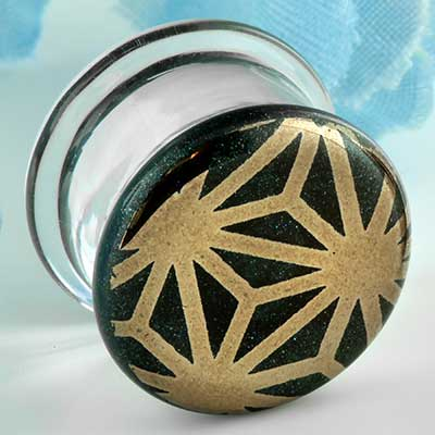 Pyrex Glass Colorfront Plugs (Japanese Star On Indigo Sparkle)