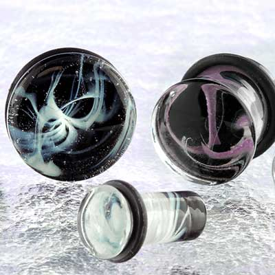 Single Flare Glass Swirl Plugs