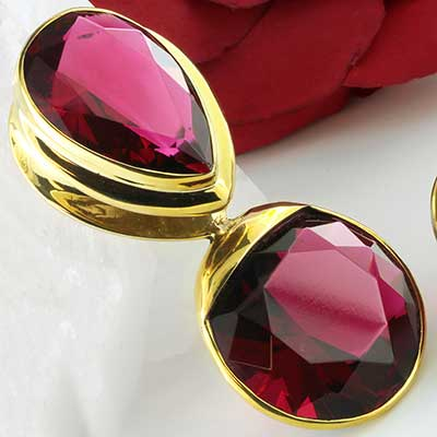 Solid Brass with Red Glass Saddle Weights