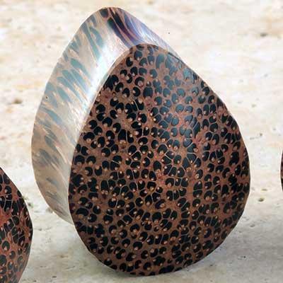 Coconut wood teardrop plug