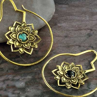 Brass and stone floral design