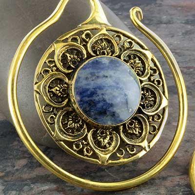 Brass Mandala hoops with lapis