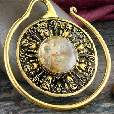 Brass Lucky hoops with rutilated quartz