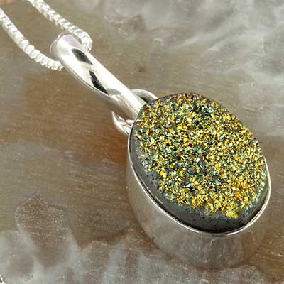 Electroplated Druzy Silver Necklace