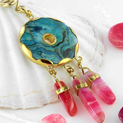 Solid brass blue Manga weights with pink chaledony dangles