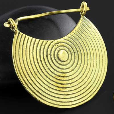 Brass gong earrings
