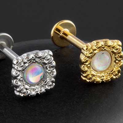 Opal square labret