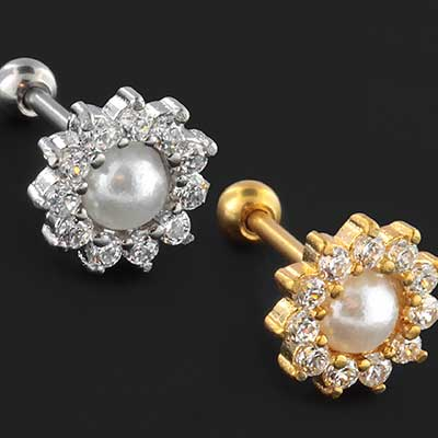 Faux pearl flower barbell