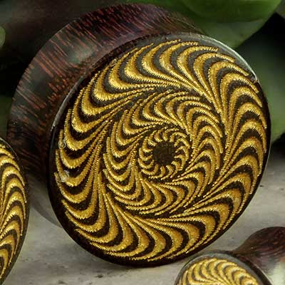 Dark tamarind golden circles plugs