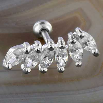 Marquise gem cluster barbell