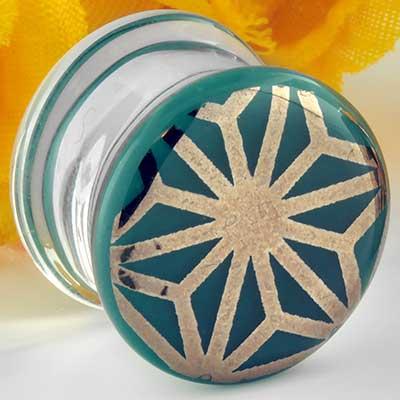 Pyrex glass colorfront plugs (Japanese star on aqua)