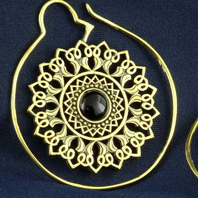Brass and stone sun mandala design