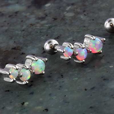 Prong set opal trio curve barbell