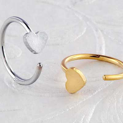 Heart Open Nose Hoop