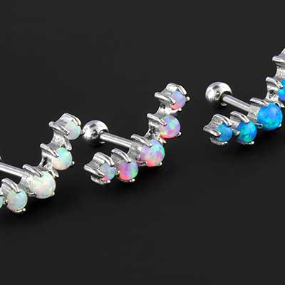 Prong set crescent opal barbell