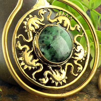 Brass Jurassic Hoops with Ruby in Zoisite