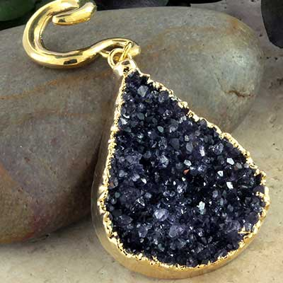 Solid brass and electroplated amethyst druzy weights