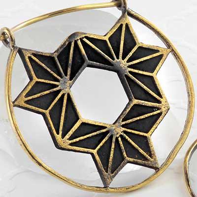 Brass geometric hexagon earrings