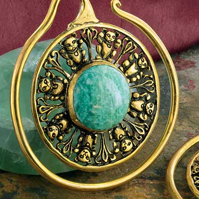 Brass Lucky hoops with amazonite