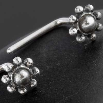 Silver Beaded Orbit Nosescrew