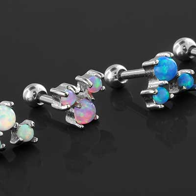 Prong set Trio opal barbell