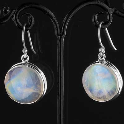 Silver and moonstone disc earrings