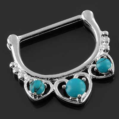 Synthetic turquoise heart nipple clicker