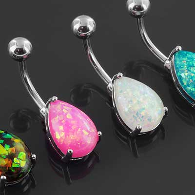 Synthetic opal teardrop navel