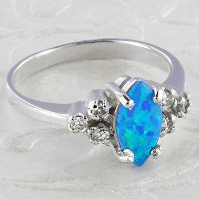 Silver and Synthetic Opal Cz Ring