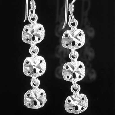 Silver sand dollar earrings