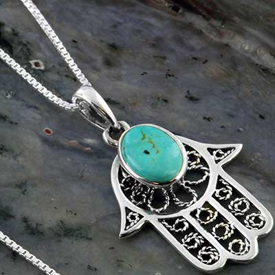 Silver Hamsa filigree necklace