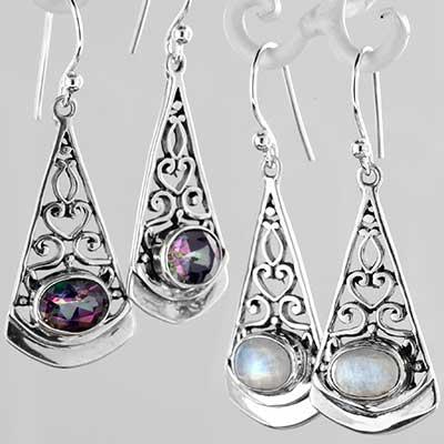 Silver and filigree swirl earrings